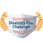 In between two laurel branches, appears a PPE mask with the words Easterseals Disability Film Challenge Home Edition.